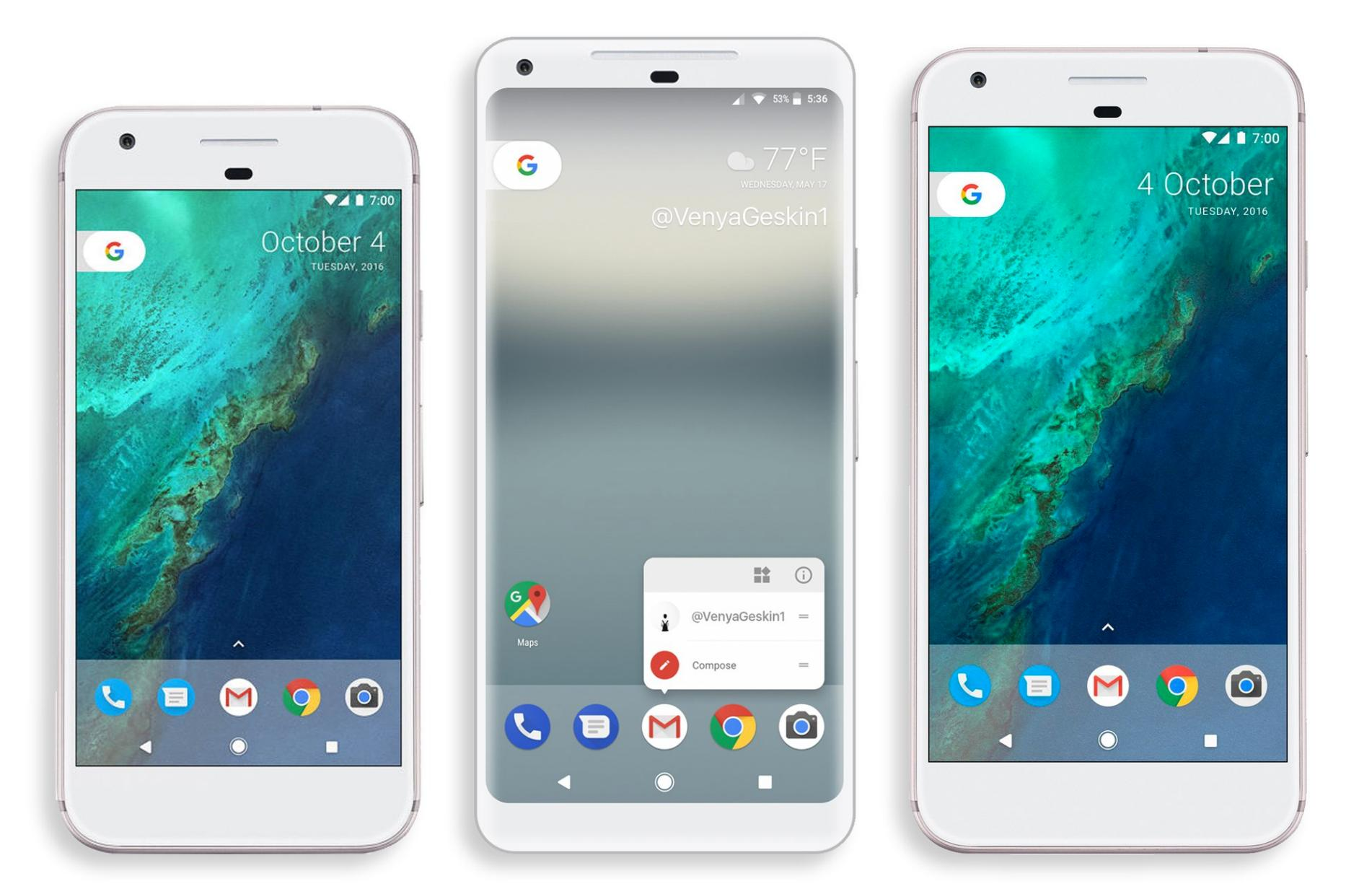 Google Pixel 2 - примерен рендър