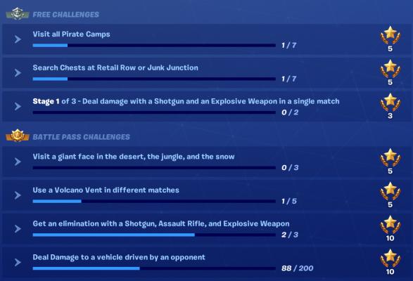 Fortnite: Battle Royale Сезон 8, Предизвикателства Седмица 1